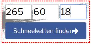 Reifengröße Formular Screenshot